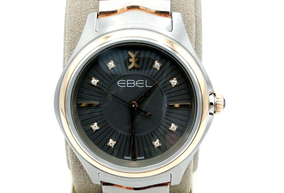 Ebel Wave Lady edelstaal/18 krt.rosegoud met diamant op antraciet wijzerplaat