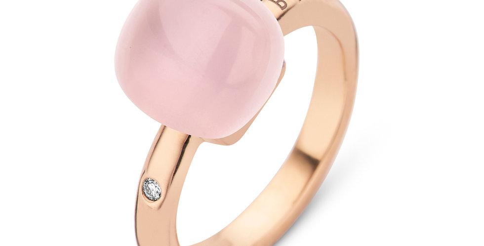Bigli Mini Sweety Ring met rozekwarts en parelmoer