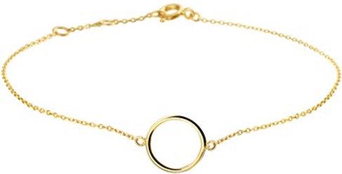 14 krt. Geelgouden armband met open cirkel