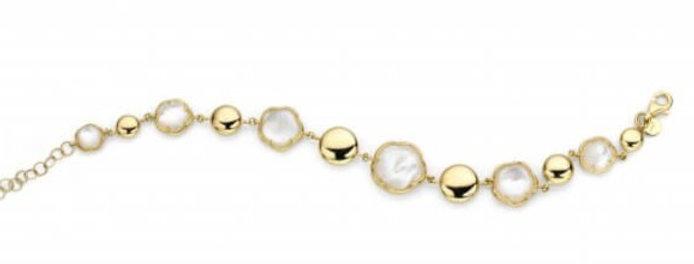 14 krt. Geelgouden armband met bloemvormen en parelmoer