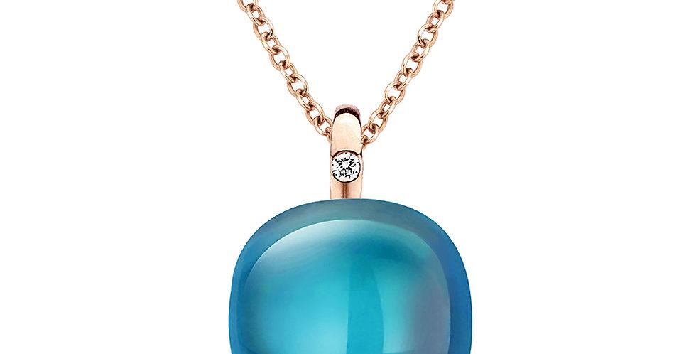 Bigli Mini Sweety 18 krt. rosegouden collier met hanger london blue topaas