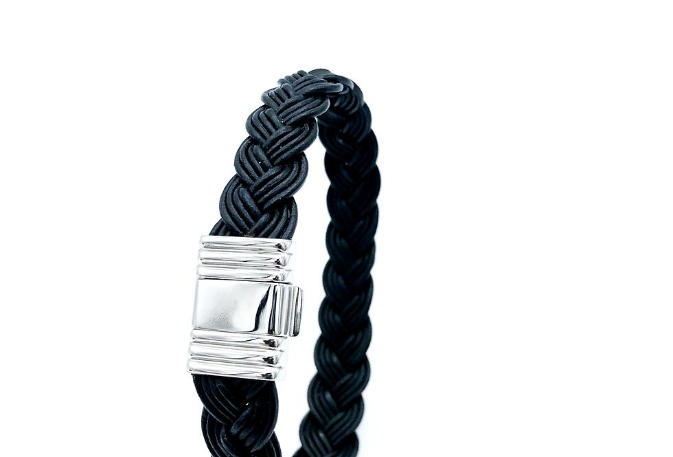 Albanu Armband van gevlochten leer met edelstalen sluiting