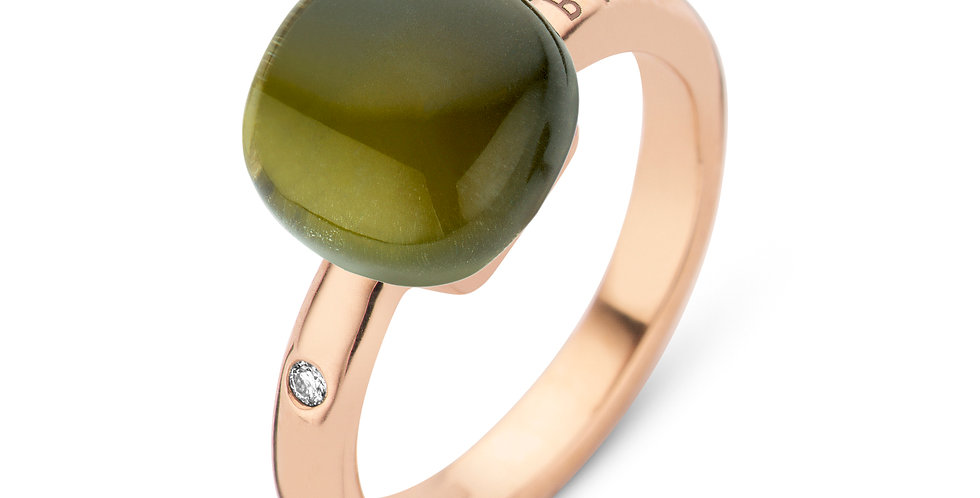 Bigli Mini Sweety Ring met groene amathist en tourmalijn en parelmoer