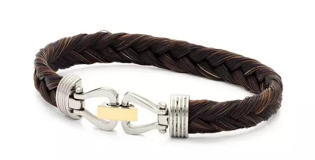 Albanu Armband van paardehaar met 18 krt. geelgouden slot gecombineerd met staal