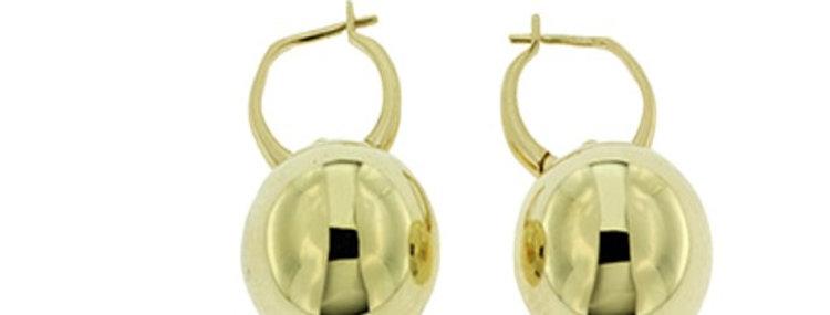 14 krt. Geelgouden oorhangers met grote ronde bollen