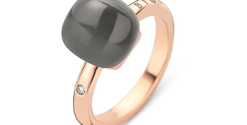 Bigli Mini Sweety Ring met grijze maansteen en parelmoer