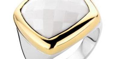 18 krt. Geelgouden ring met zilver en witte agaat