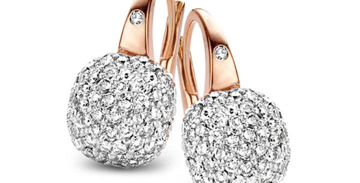 Bigli Mini Sweety rosegouden oorbellen met diamant gezet in witgoud