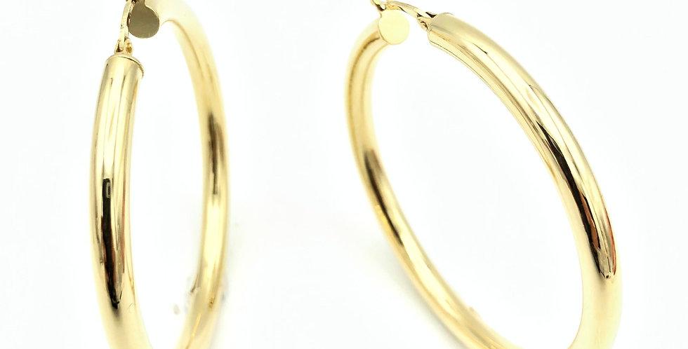 14 krt.Geelgouden grote oorringen, diameter 4,8 cm/dikte 4 mm