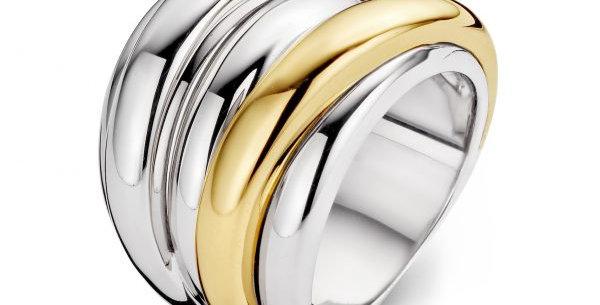 18 krt. Geelgouden ring met zilver