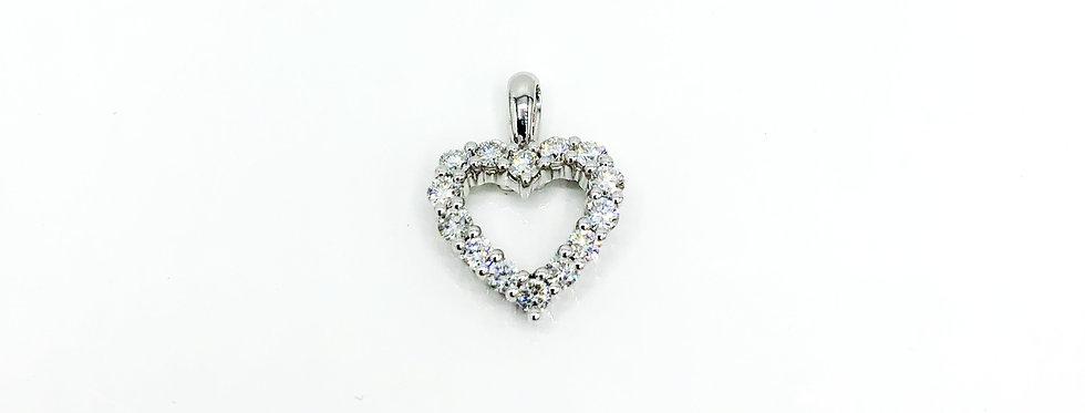 14 Krt. witgouden harthanger volgezet met briljant geslepen diamanten