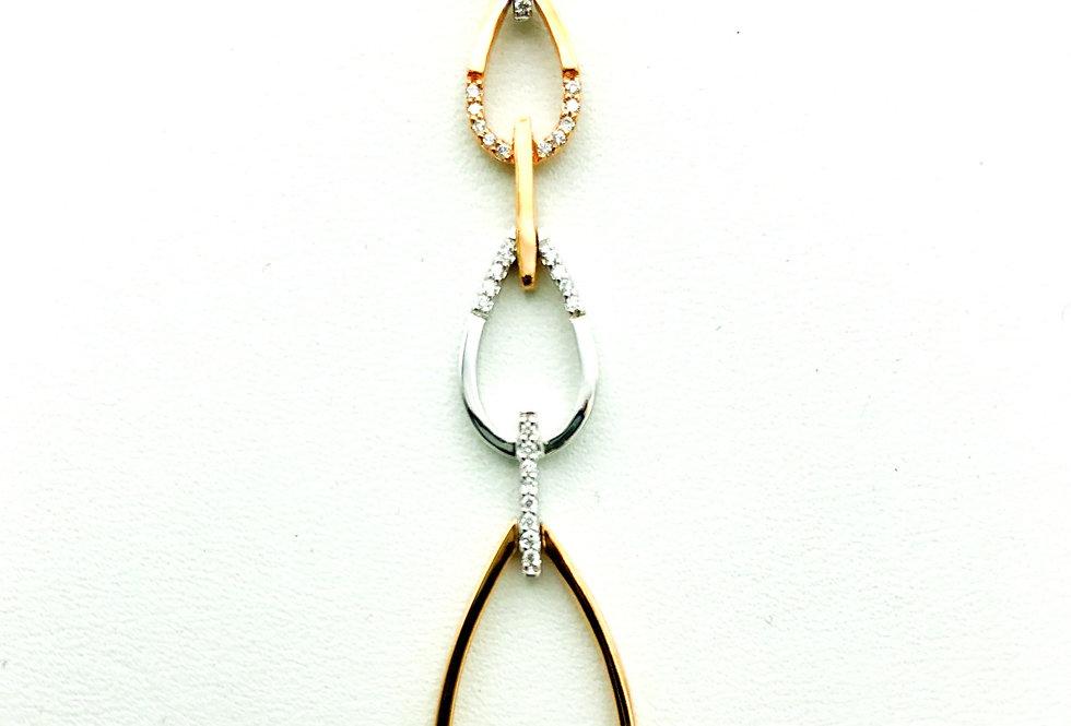 14 krt. Rosegoud en witgouden hanger met diamant