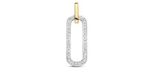 14 krt. Bicolor hanger met ovale vorm, volgezet met diamant