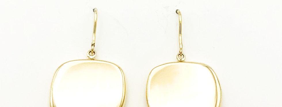 14 krt. Geelgouden oorbellen met square hanger