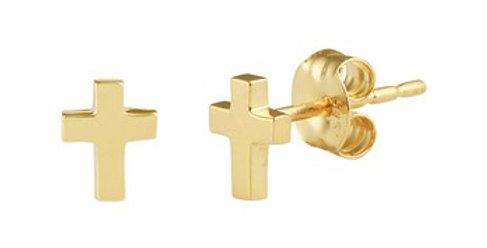 14 krt. Geelgouden oorknoppen met kruisje
