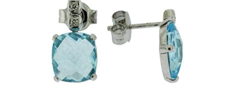 14 krt. Witgouden oorknoppen met topaas en diamant