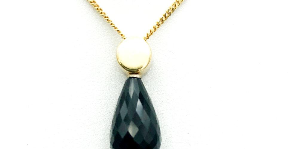 14 krt. Geelgouden hanger met gefacetteerd geslepen zwarte onyx