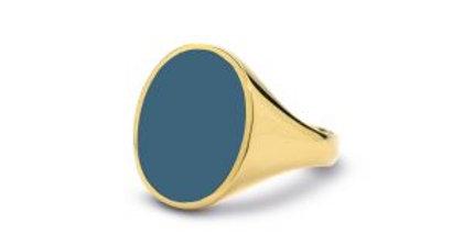 14 krt. Geelgouden zegelringen met blauwe lagensteen