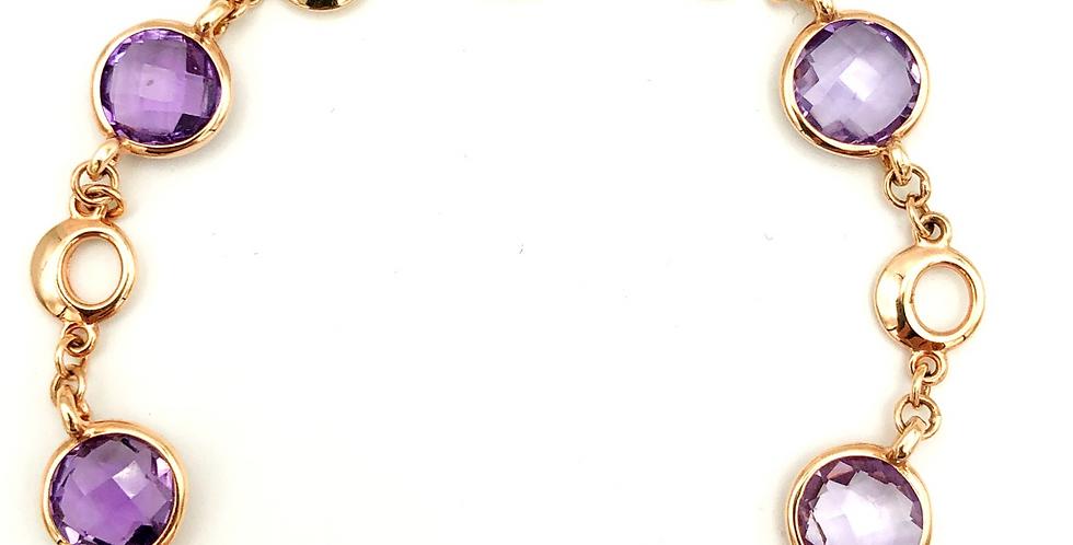 14 krt. Rosegouden armband met gefacetteerde Amathisten