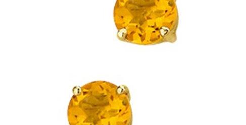 14 krt. Geelgouden oorknoppen met citrien