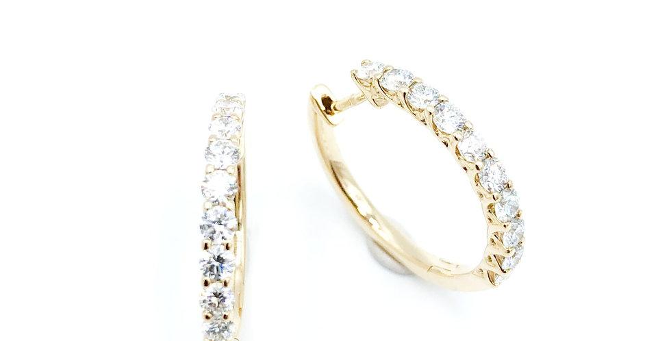 14 krt. Geelgouden oorringen met 2x10 briljant geslepen diamanten