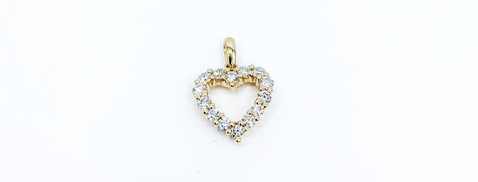 14 krt. Geelgouden harthanger volgezet met briljant geslepen diamanten