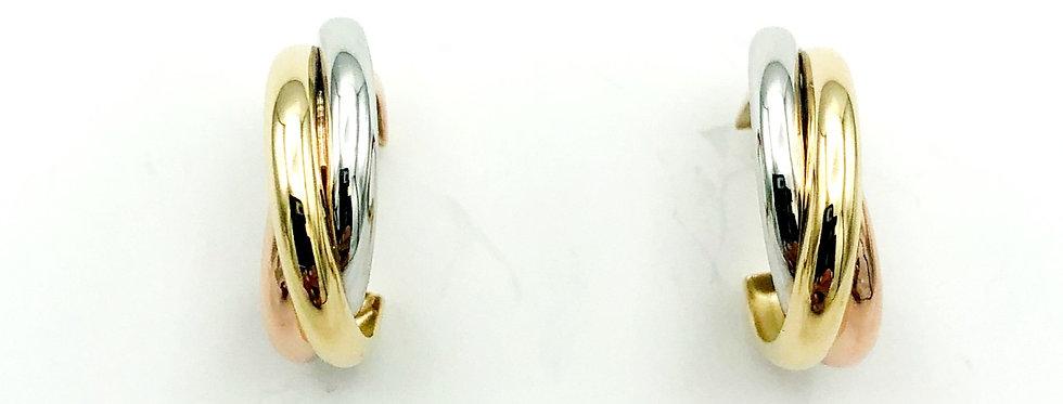 14 krt. Tricolor gouden oorknoppen