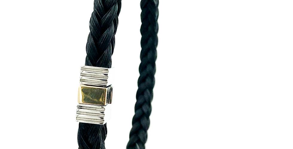 Albanu Armband van paardenhaar vierkant gevlochten met edelstaal/goud slot