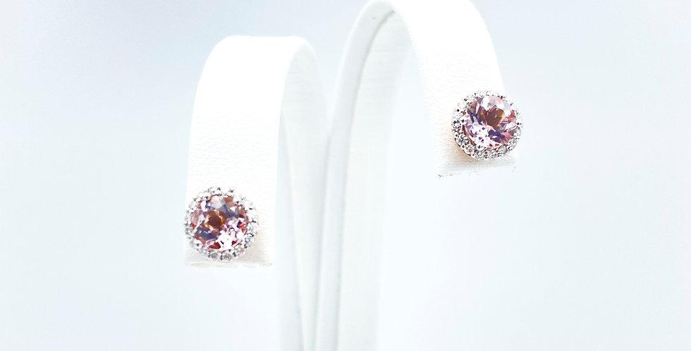 14 krt. roségouden oorstekers bezet met morganite en briljant geslepen diamanten