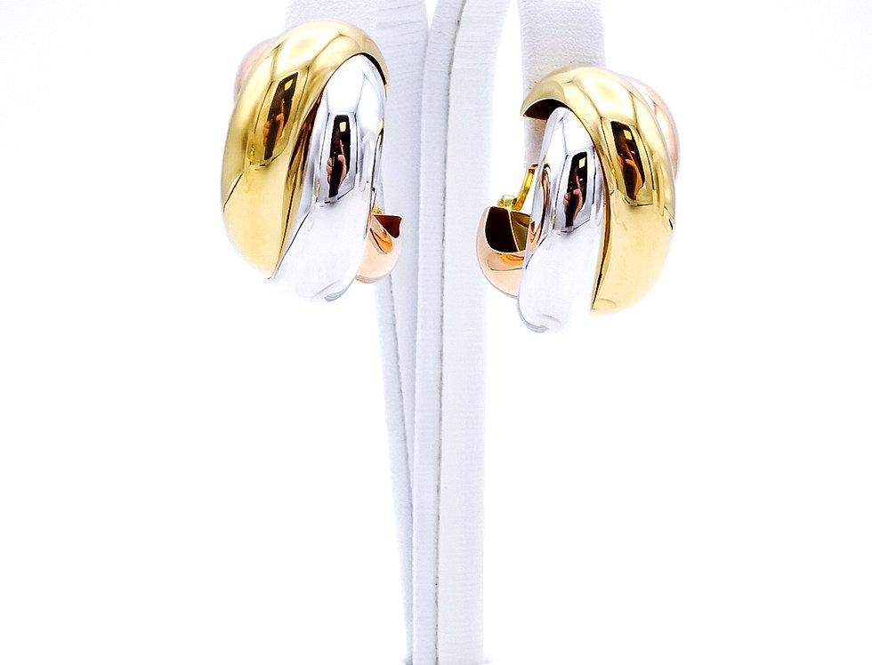 """14 krt. Tricolor gouden grote volle """"Cartier"""" oorringen"""