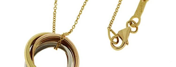 14 krt. Tri-colour hanger bestaande uit 3 losse ringen +collier