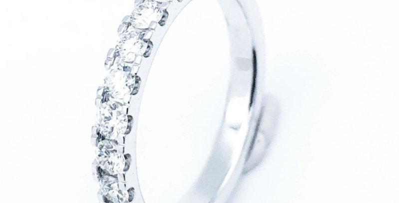 14 krt. Witgouden allaince ring halfgezet met briljant 0.75crt.