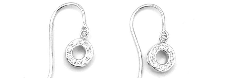 14 krt. Witgouden oorhangers met diamant