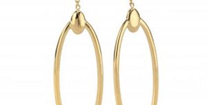 14 krt. Geelgouden oorbellen met grote ovale hanger