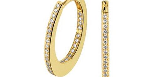 14 krt. Geelgouden ovale creolen met diamant 19mm