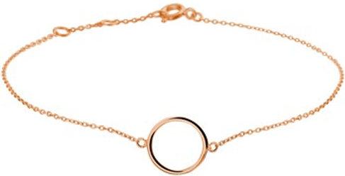 14 krt. Rosegouden armband met open cirkel