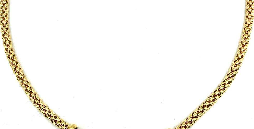 18 krt. Geelgouden collier van Fope met beweegbare diamanten appliques