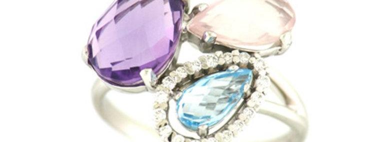 14 krt. Witgouden ring met amathyst/topaas/quartz en diamant