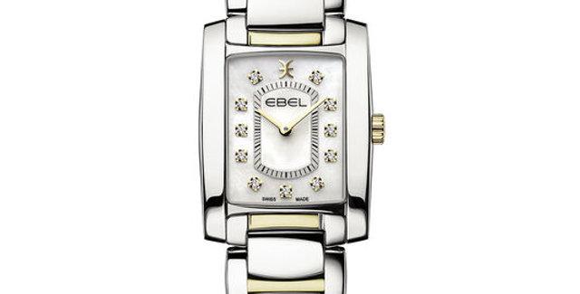 Ebel Brasilia dameshorloge edelstaal met 18 krt. goud pvd en diamanten