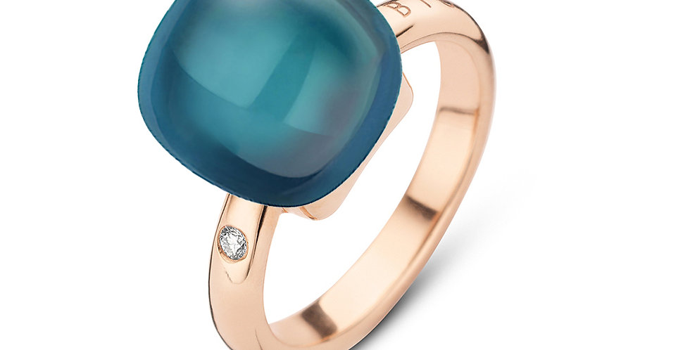Bigli Mini Sweety Ring met London BlueTopas en Parelmoer