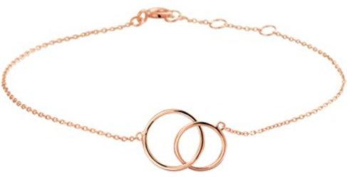 14 krt. Rosegouden armband met twee open cirkels