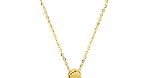 14 krt. Geelgouden collier met vol rond hangertje
