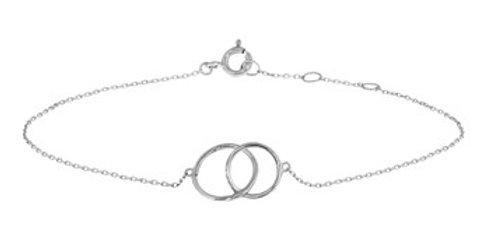 14 krt. Witgouden armband met 2 open cirkels