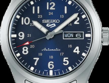 Seiko 5 blauwe wijzerplaat gladde lunette SRPG29K1