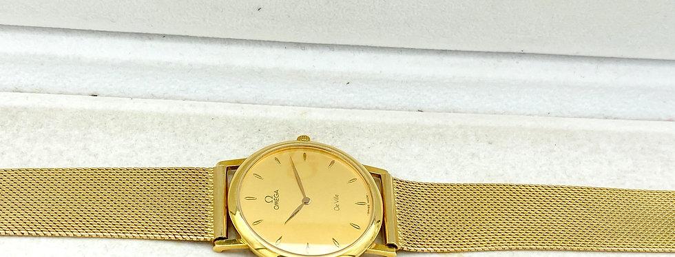 18 krt. plat geelgouden Omega de Ville Quarts horloge 33 mm