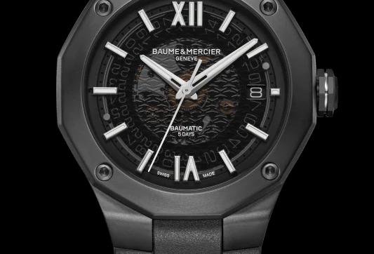 Baume et Mercier Riviera edelstalen herenhorloge met pvd  en rubberen band