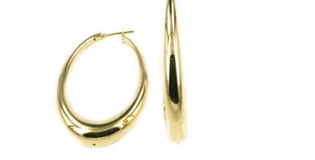 18 krt. Geelgouden bolle ovale oorringen