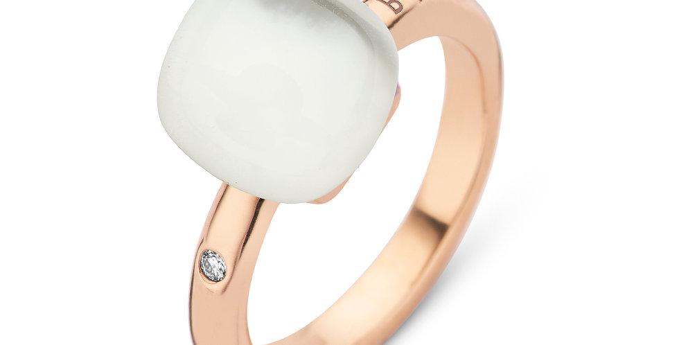 Bigli Mini Sweety Ring met bergkristal en parelmoer