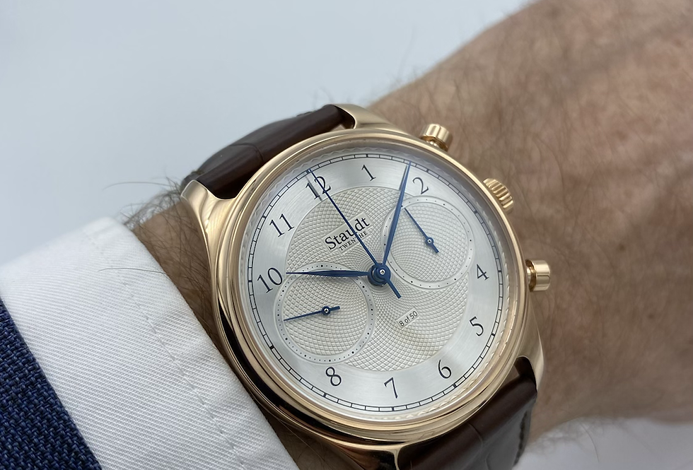 Rosé gouden STAUDT Praeludium Guilloche Chronograph