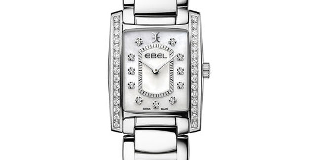 Ebel Brasilia dameshorloge van edelstaal met diamant en white mother of pearl
